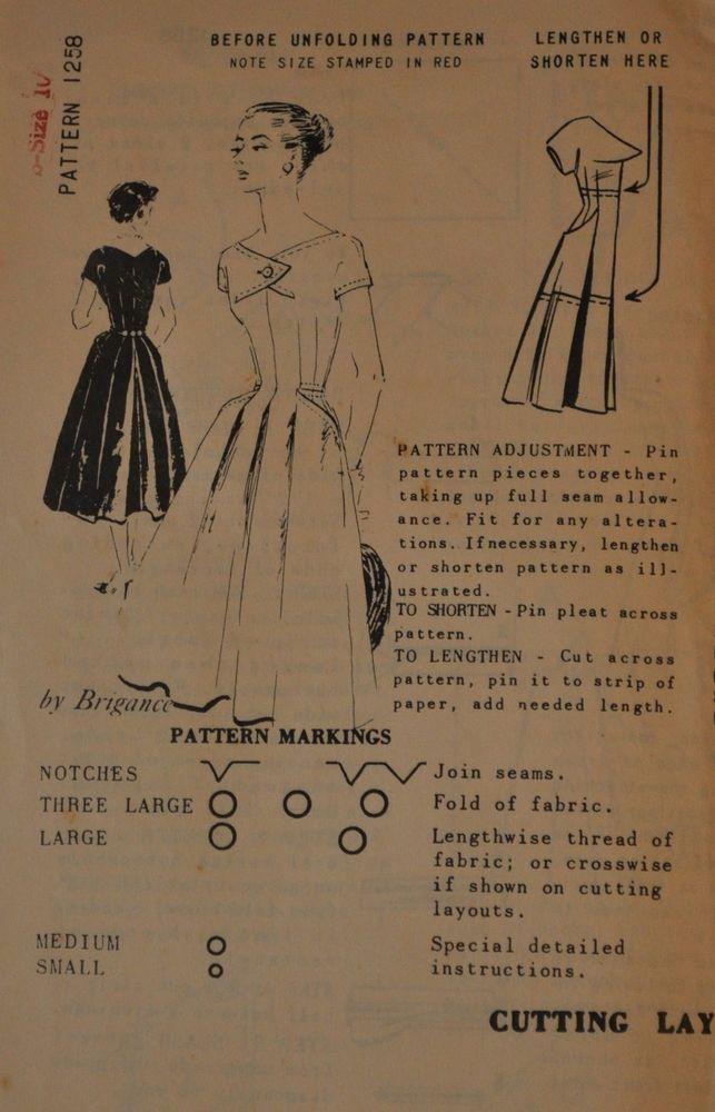 VTG 50s Mail Order Spadea Dress by Brigance Pattern 1258 Sz 12 Unprinted