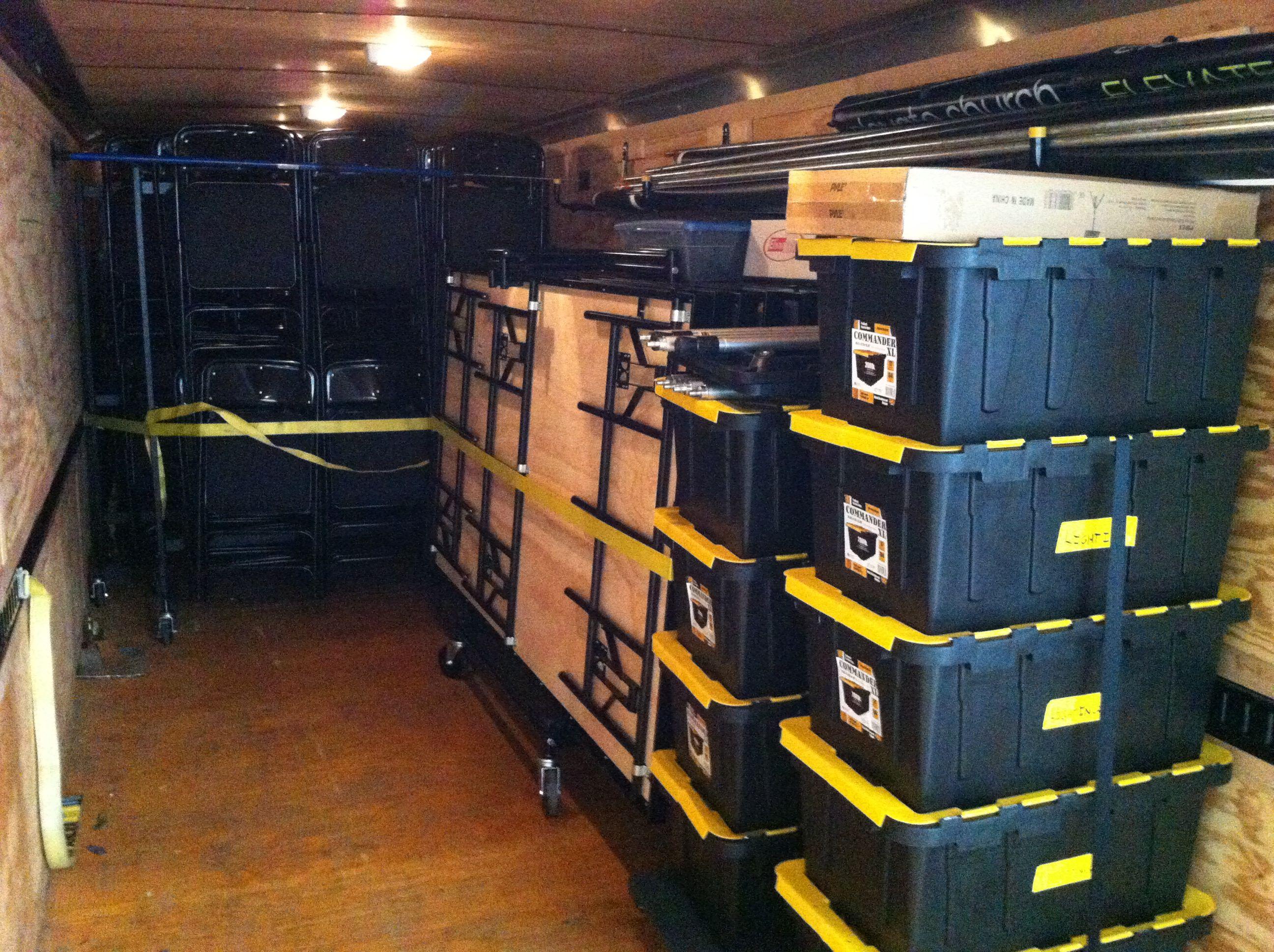 Church Equipment Loaded In Trailer Portable Church