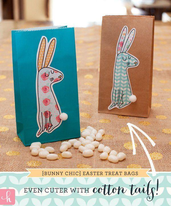 Ilmaiseksi printattava pupu esimerkiksi  herkkupussukoihin. HWTM - Bunny Treat Bags