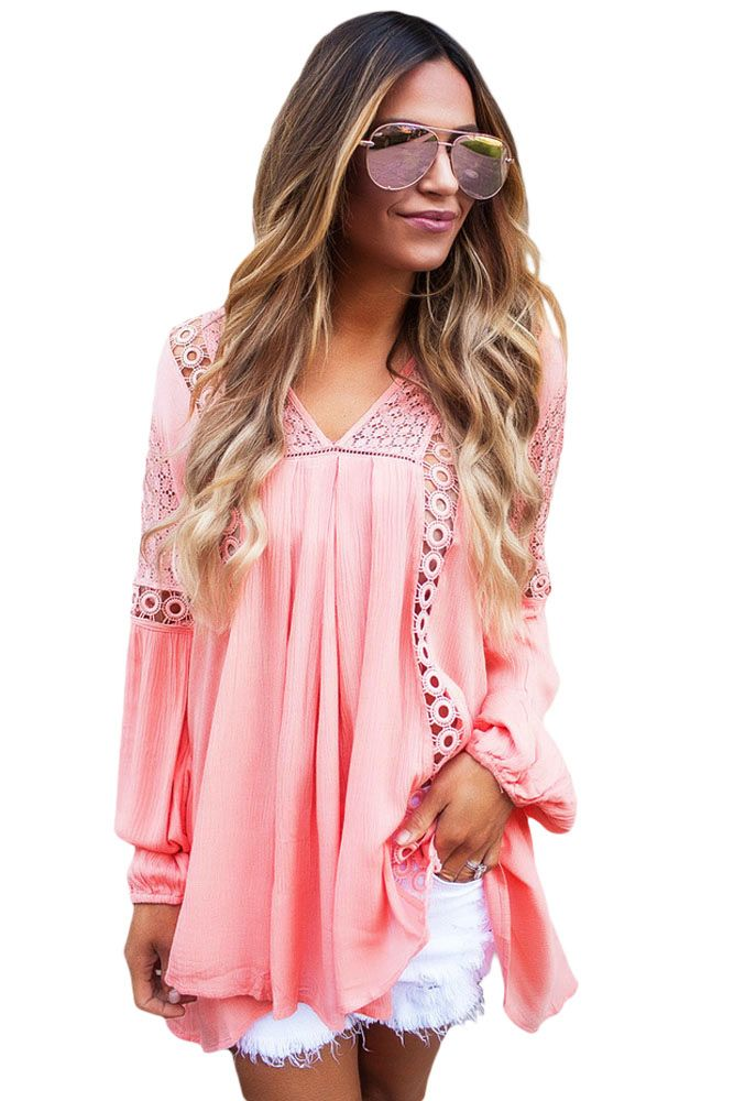 69a20f825f7 Pink Crochet Lace Trim Relaxed Long Sleeve Tunic  style  fashion   boutiquefashion  victoryroze  wearevictoryroze  ladiesfashion  dress   clothes  ootd  wwt ...