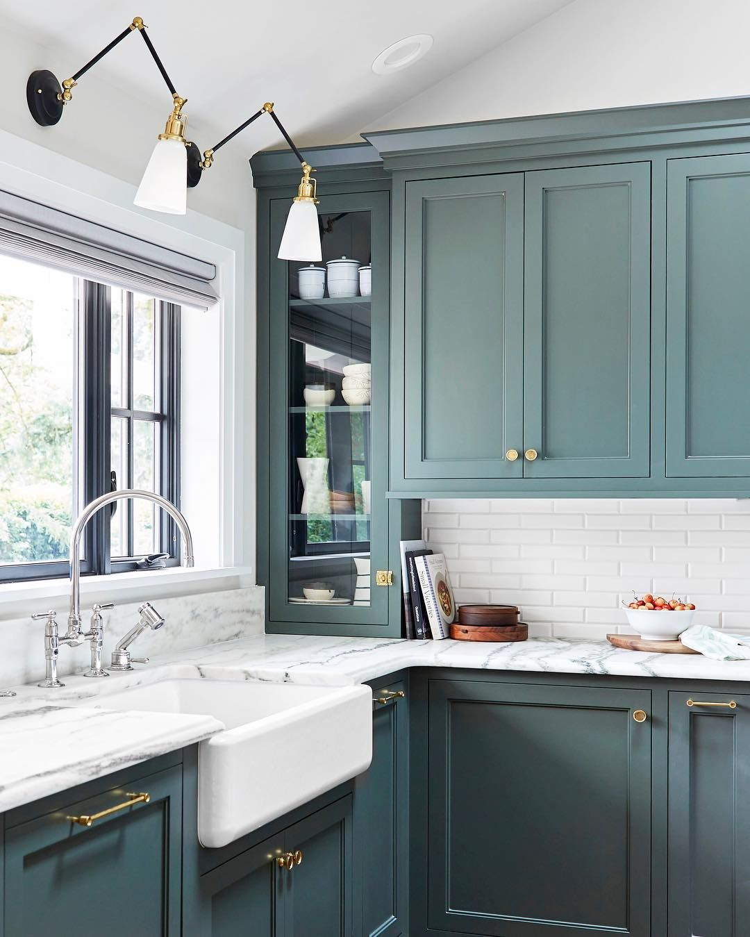 Rejuvenation On Instagram Task Lighting Above The Sink A Mix Of Finishes Marble Countertops Bold Cabi Kitchen Color Trends Kitchen Design Kitchen Interior
