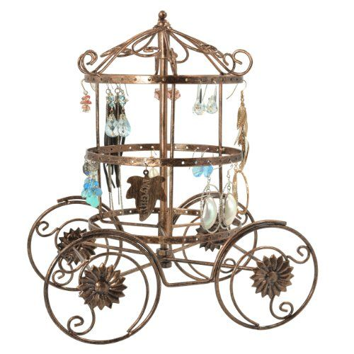 Magical Fairy Tale Cinderella Rotating Carriage Jewelry Storage Earring Organizer Bracelet Holder Necklace Hanger Display Stand:...