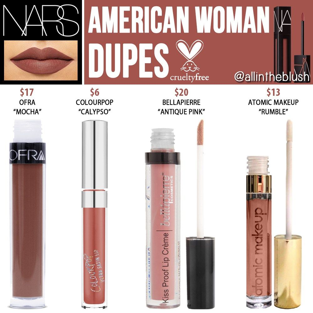 Nars American Woman Powermatte Lip Pigment Cruelty Free Dupes All In The Blush Cosmetics Dupes Lipstick Dupes Airbrush Makeup