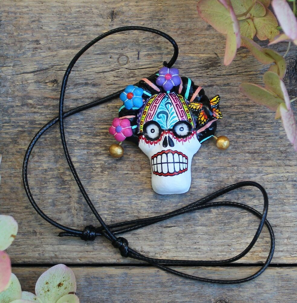 Day of the Dead Clay Skeleton Beige Handmade Atzompa Oaxaca Mexican Folk Art