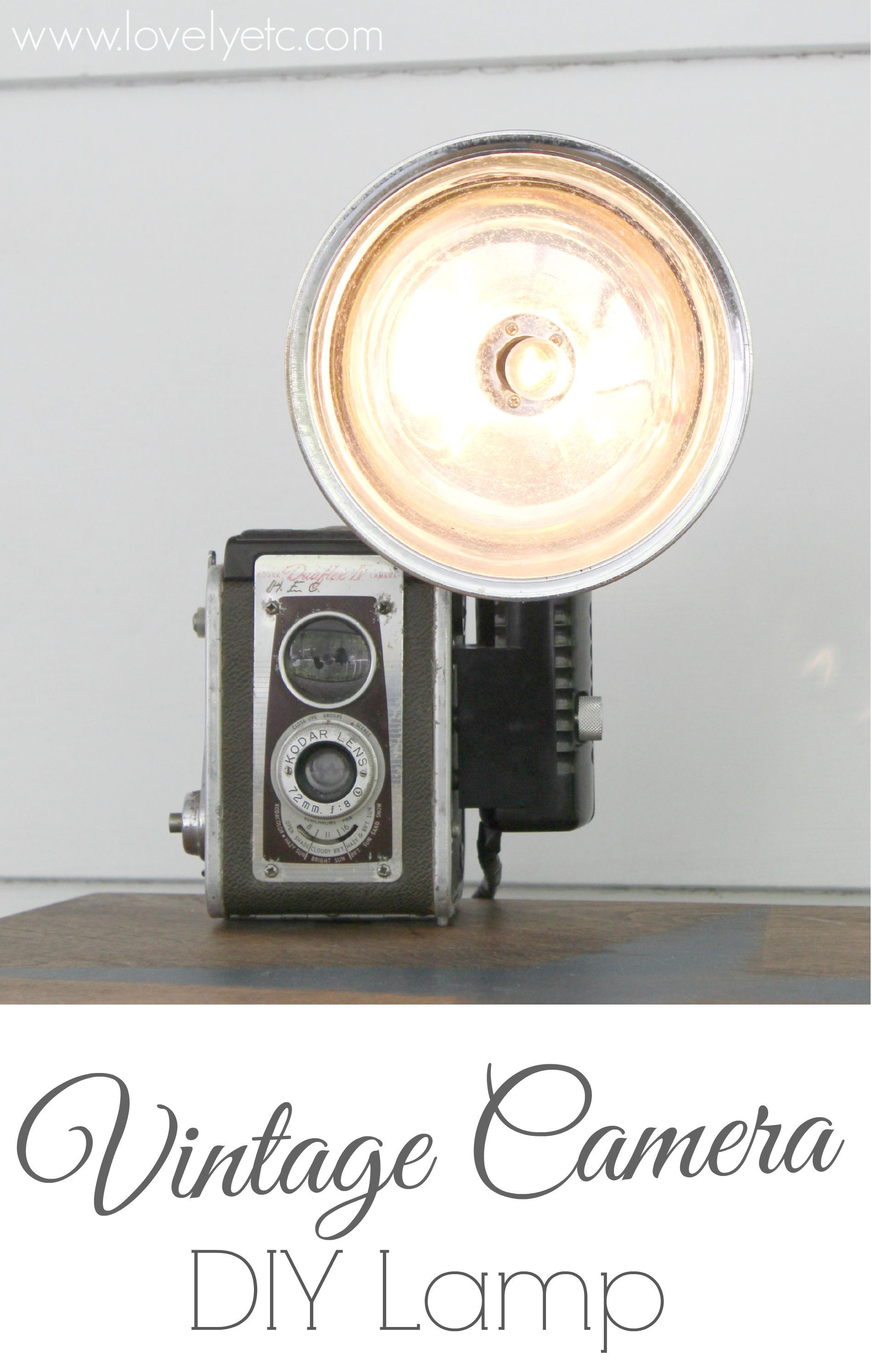 How To Turn A Vintage Camera Into A Lamp Lovely Etc Diy Lamp Old Camera Vintage Camera