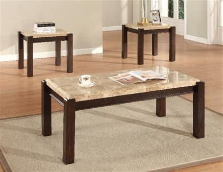 Charissa Light Brown Marble Wood Coffee Table Set Marble Coffee