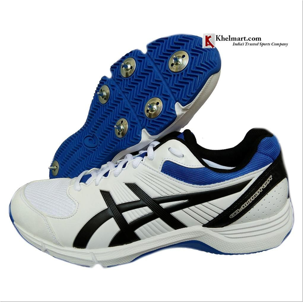 Asics Gel 100 Not Out Full Spike Cricket Shoes Color White Onyx And Blue Buy Asics Gel 100 Not Out Full Spike Cricket Shoes Color White Onyx And Blue Online A