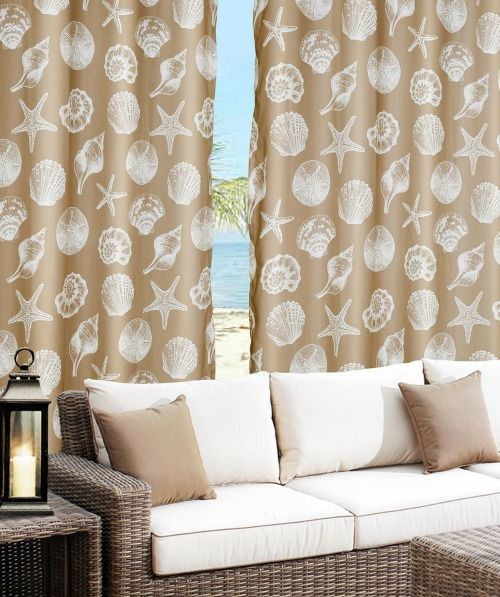 Seashell Curtain Panels In Sand For Inside Or Outdoors.... Http:/