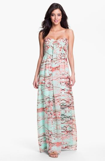 Jessica Simpson Strapless Print Maxi Dress,Nordstrom wedding guest ...