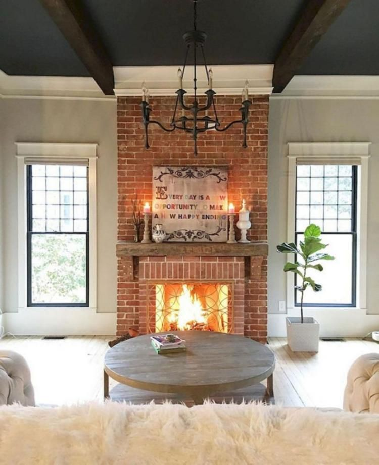 40 Admirable Small Fireplace Makeover Decoration Ideas Red Brick Fireplaces Rustic Farmhouse Fireplace Farmhouse Style Living Room