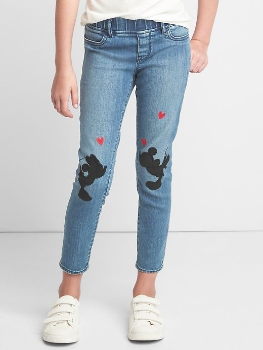 f5e89149af3c20 Gap Girls Gapkids | Disney Mickey Mouse And Minnie Mouse High Stretch Ankle  Jeggings Dark Rinse
