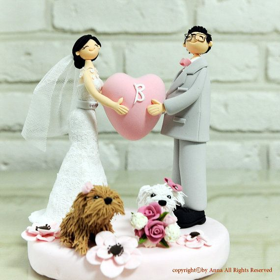 Holding Pink heart couple custom wedding cake topper decoration gift keepsake