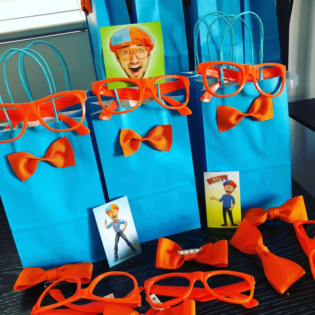 Blippi Theme Goody Bags Orange Glasses And Ribbon Bow