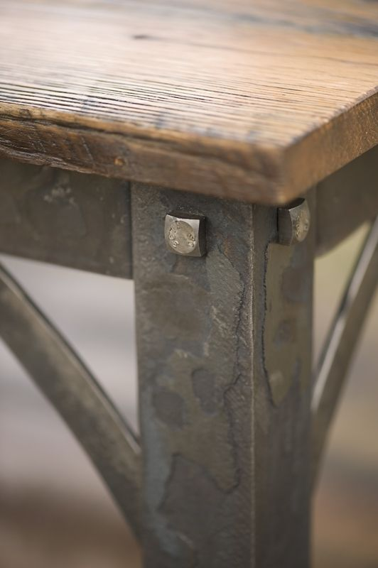 Hand forged iron and reclaimed barn wood coffee table for Rustic iron table legs