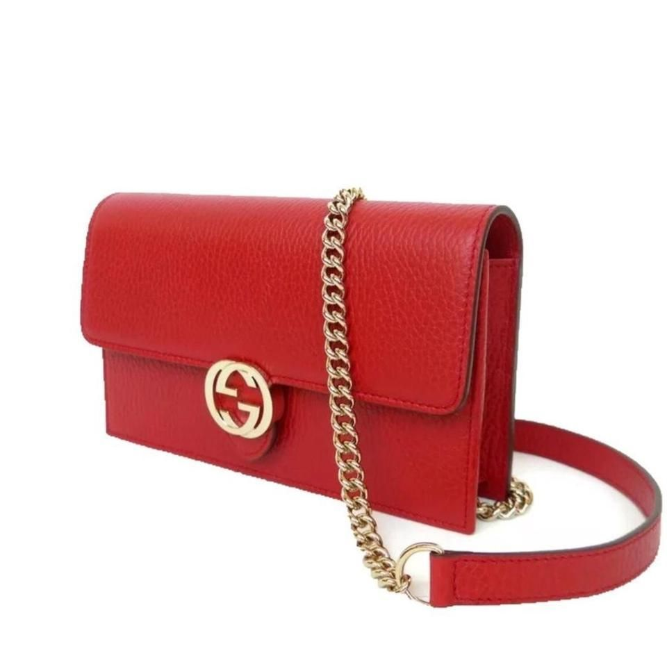 3d9160b6f56 GUCCI red Rosso Pebbled Leather INTERLOCKING G Mini CHAIN bag wallet NWT  Authent