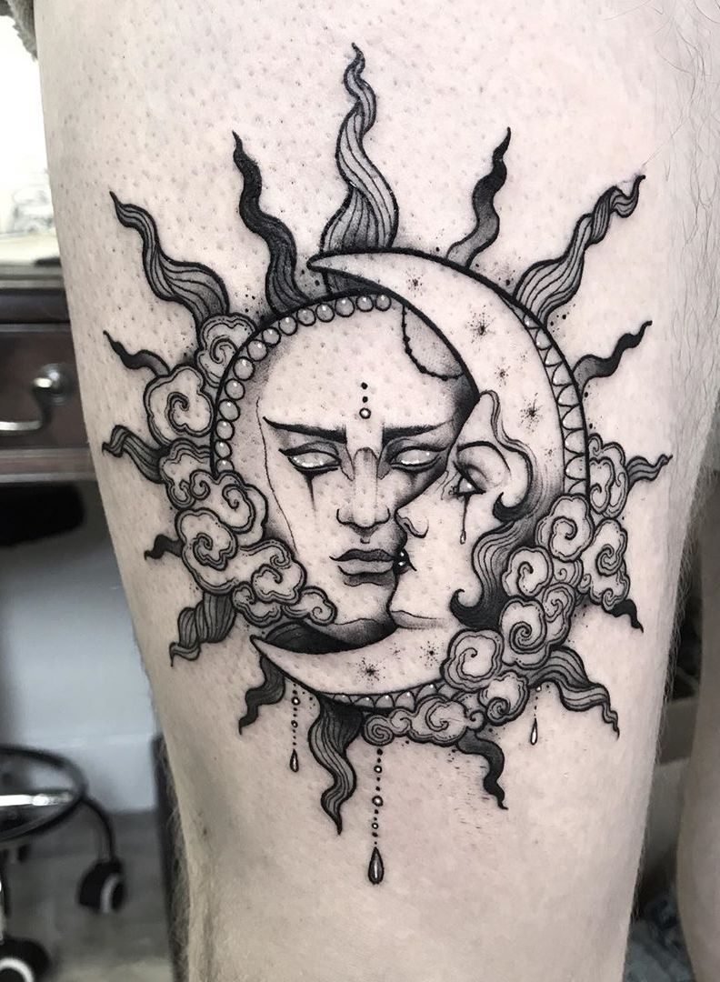 50 Meaningful and Beautiful Sun and Moon Tattoos