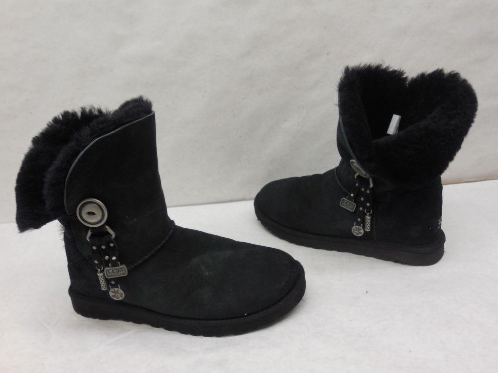 a6c4e5c5984 UGG Womens 1005382 Black Suede Azalea Charm Sheep Lined Winter Snow ...