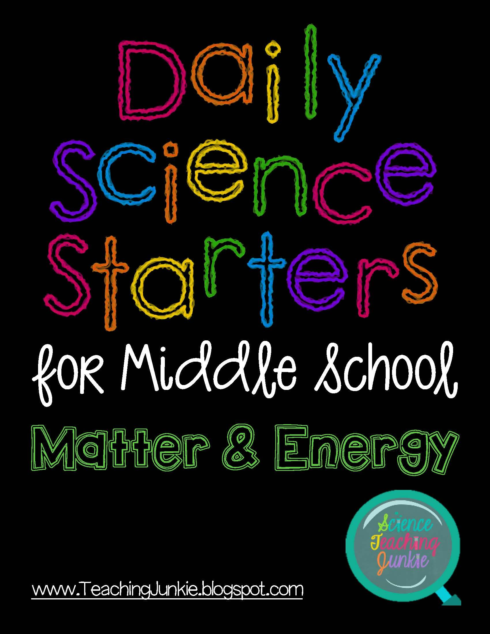 Worksheets Science Starters Worksheet daily science starters for middle school matter and energy energy