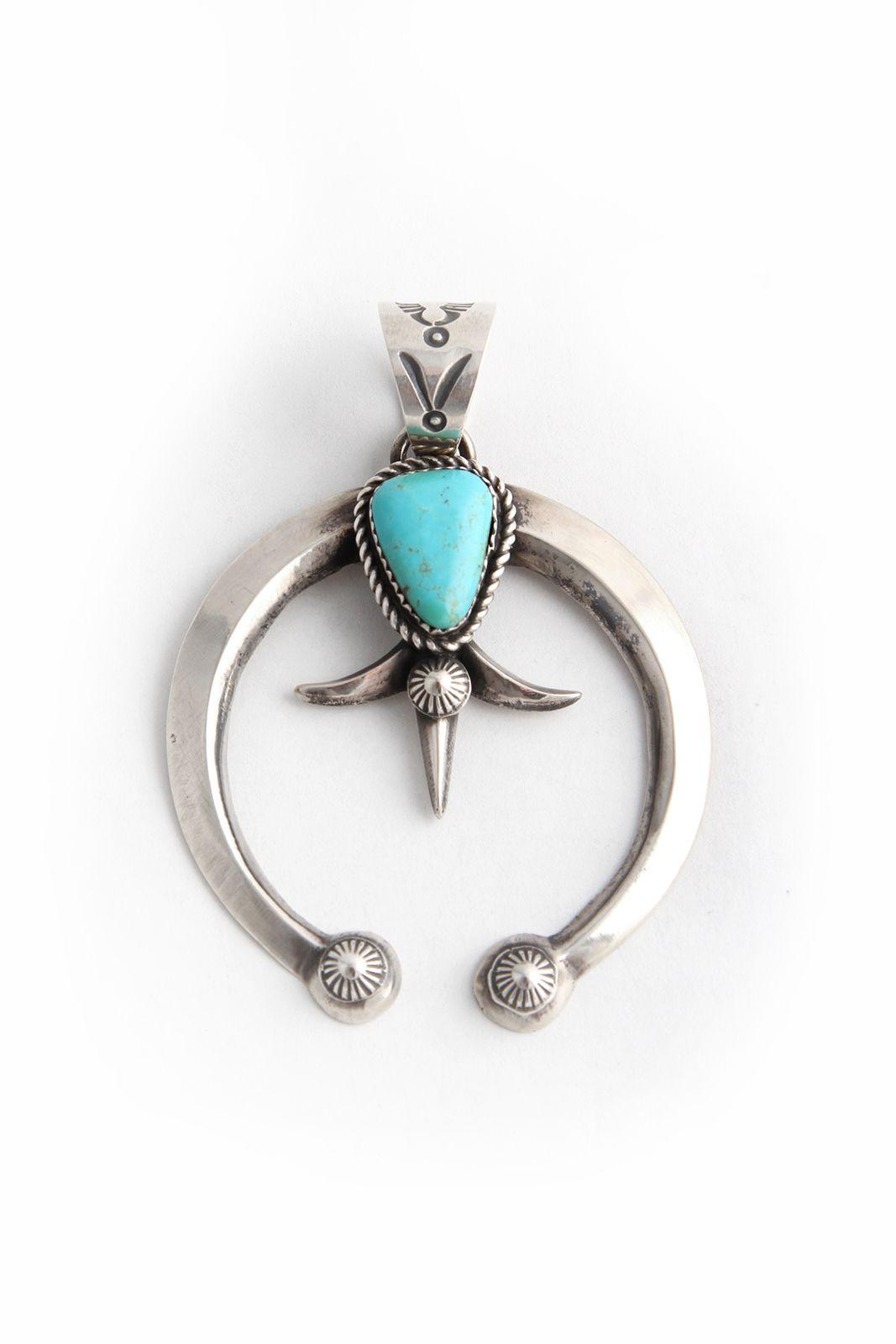 Vintage Navajo Turquoise /& Sterling Silver Naja Pendant