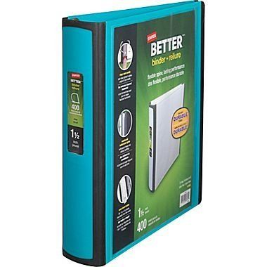 1 1 2 Staples Better View Binders With D Rings Teal Binder School Supplies Paper Clutter Organization