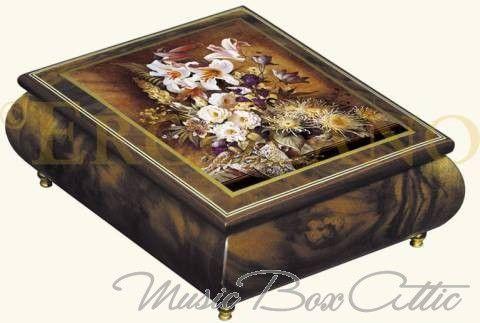 Ercolano Art Musical Jewelry Box Called White Glory By Brenda Burke