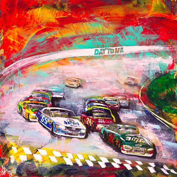 Giclee Nascar Print On Canvas Of The Original Painting Race Etsy Wall Art Sign Canvas Prints Original Paintings