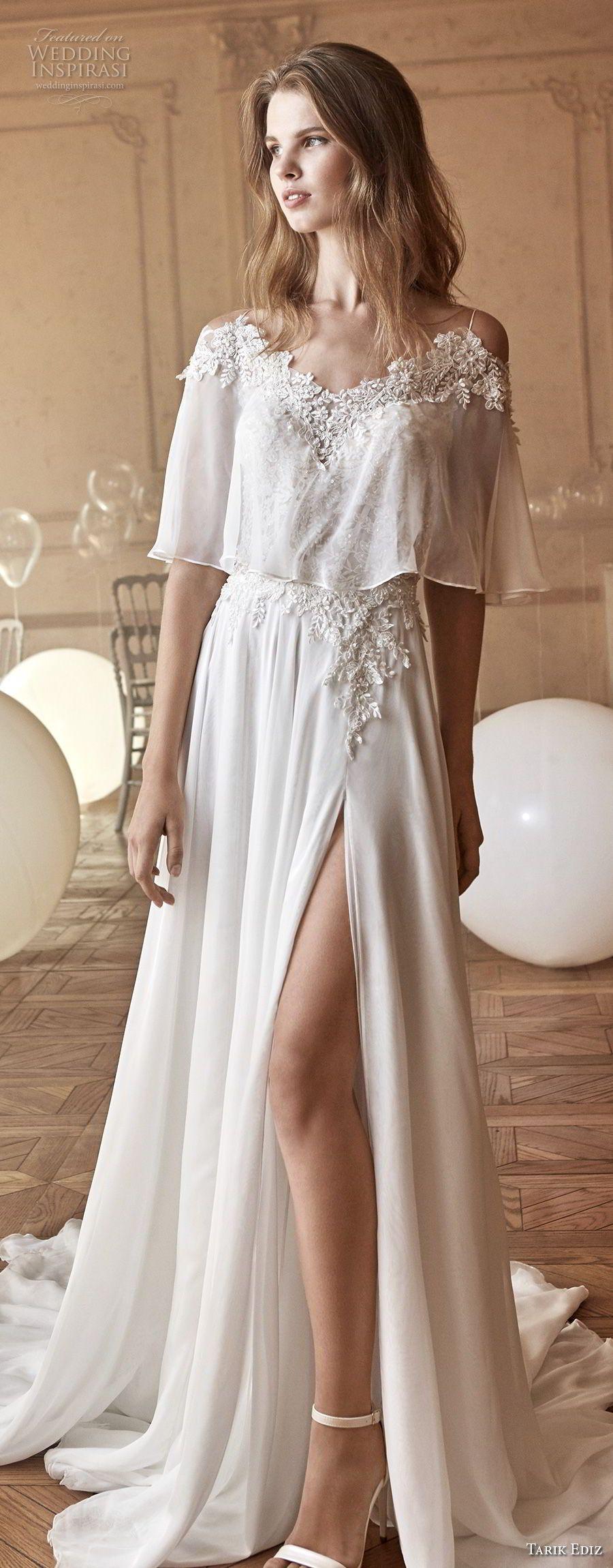 Lace wedding dress tulle november 2018 Tarik Ediz White  Wedding Dresses  Slit skirt Chapel train and