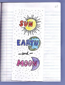 sun earth moon foldable with key by science doodles tpt science lessons. Black Bedroom Furniture Sets. Home Design Ideas