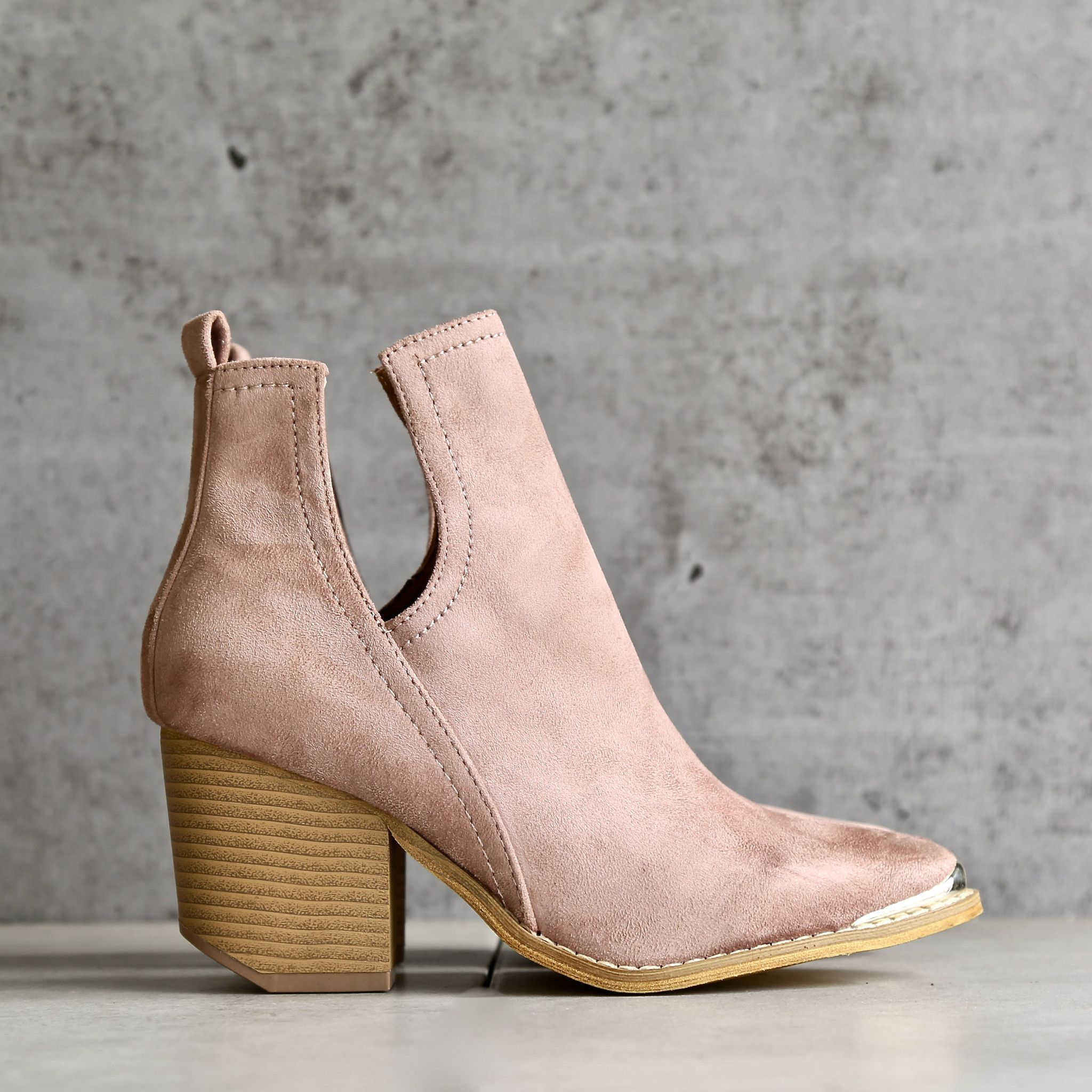a76016ee6639 Vegan suede side cut out bootie with metal tip - rose | { shoes ...