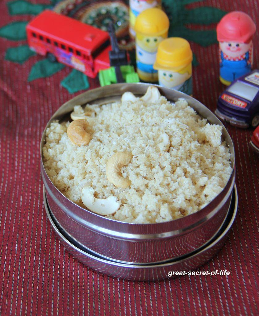 Vella Puttu - Rice sweet snack - Rice flour with Jaggery ...