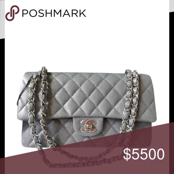 9c1f6166edc1 Chanel Classic Medium Flap Caviar Shoulder Bag Brand New Classic Medium  Double Flap Grey Caviar Leather Shoulder Bag. 10