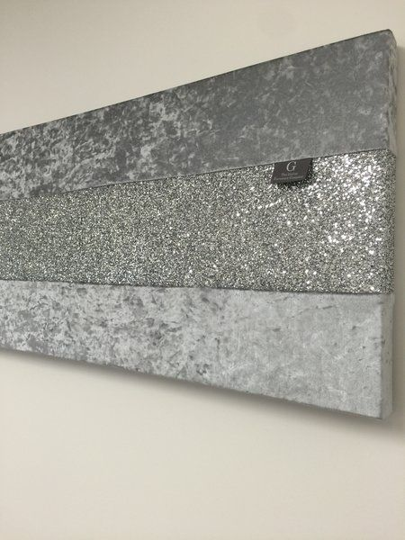 Stunning Gunmetal Grey Crushed Velvet With Silver Glitter Wall Art