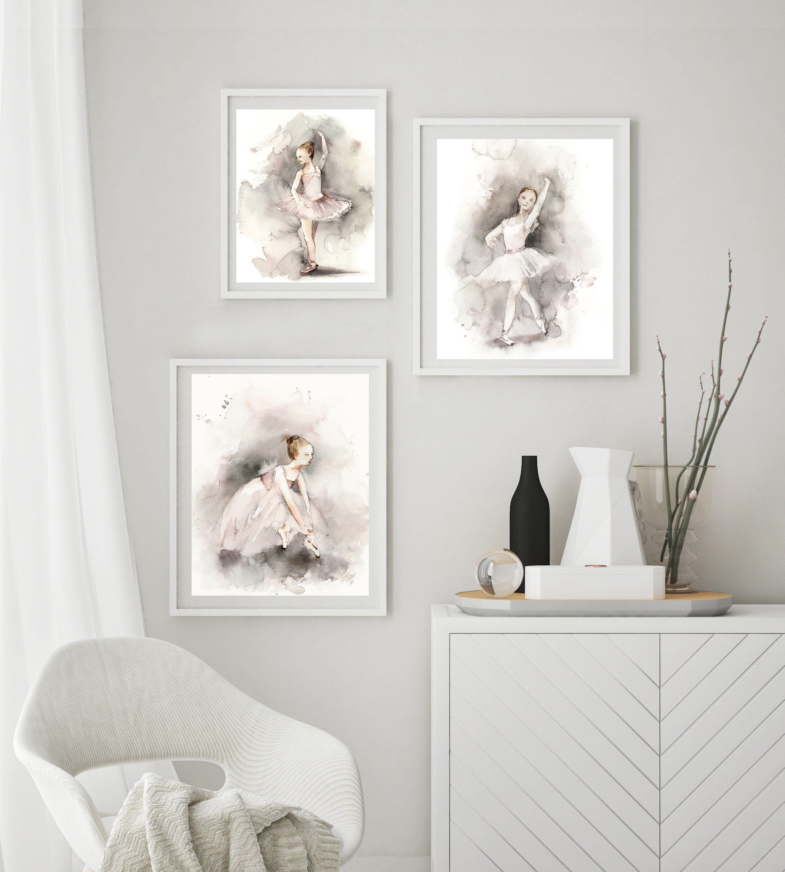 Ballet set of 3 fine art prints ballerina girl watercolor