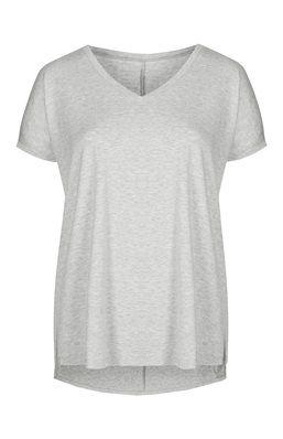T-shirt decote em V, viscose, cinzento