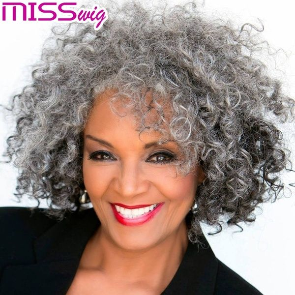 Women S Fashion Short Grey Curly Wigs Color Gray Size Short