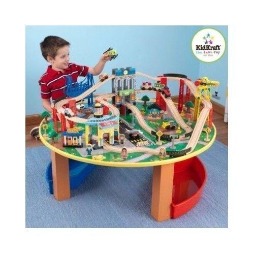 Train Set KidKraft City Kids Track Table Wooden Toys Thomas Friends ...