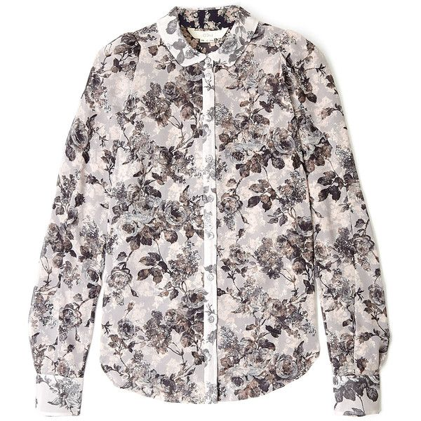 O'2nd Rose Print Puff Sleeve Shirt ($440) found on Polyvore