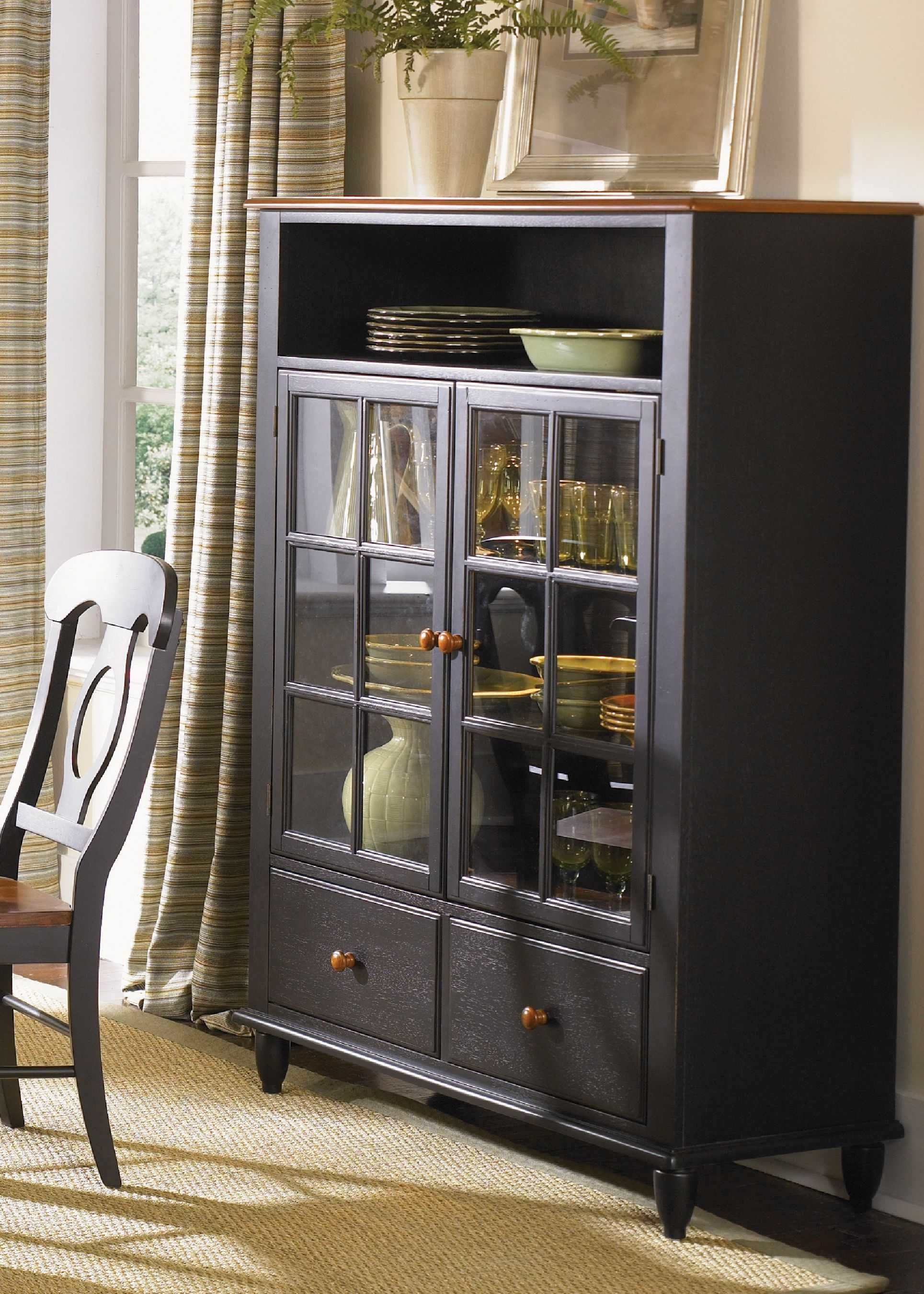 Black Painted Small Antique China Hutch | ... U003e Dining Room Furniture U003e  China Cabinet U003e Country China Cabinet