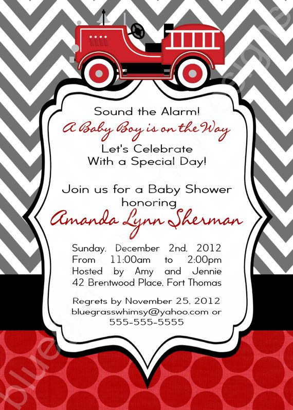 Firetruck Baby Shower Invitation For A Baby Boy Red Black Gray