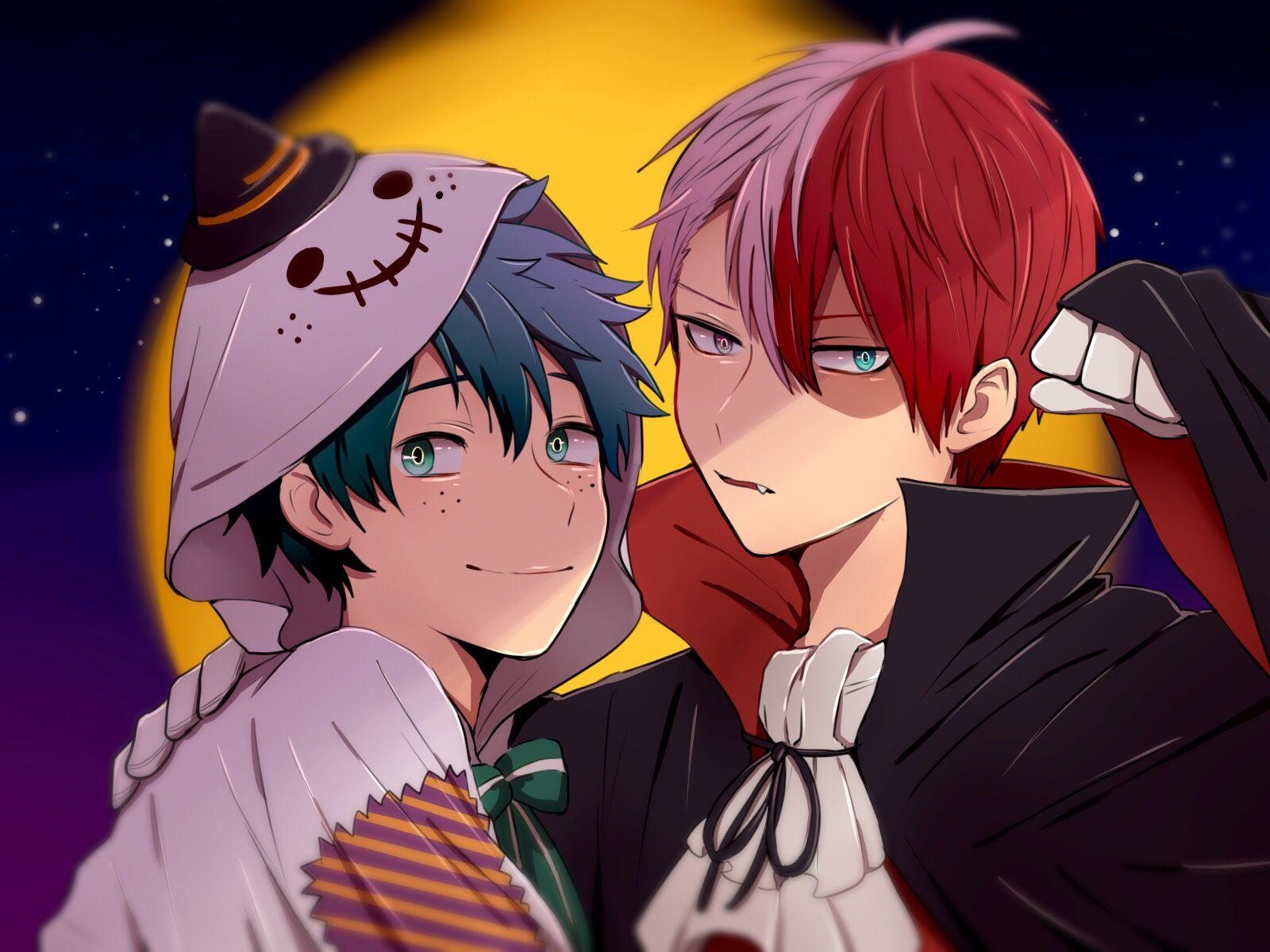 Characters Midoriya Izuku Todoroki Shouto Halloween Anime Crossover My Hero Academia Shouto My Hero