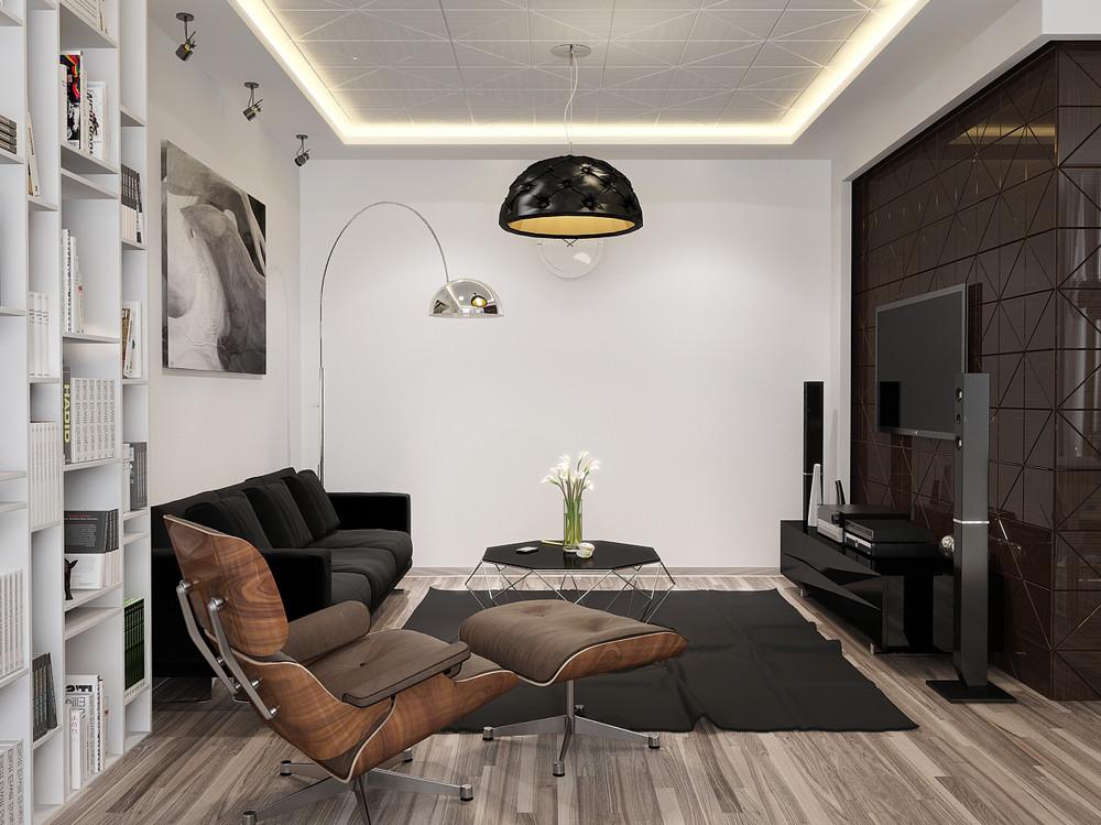 Minimalist Apartment Interior Design With Gray Color