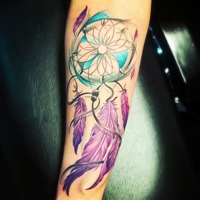 Design Your Own Tattoo Sleeve: 25 Colorful Dream Catcher Tattoo That Will Be Uniquely