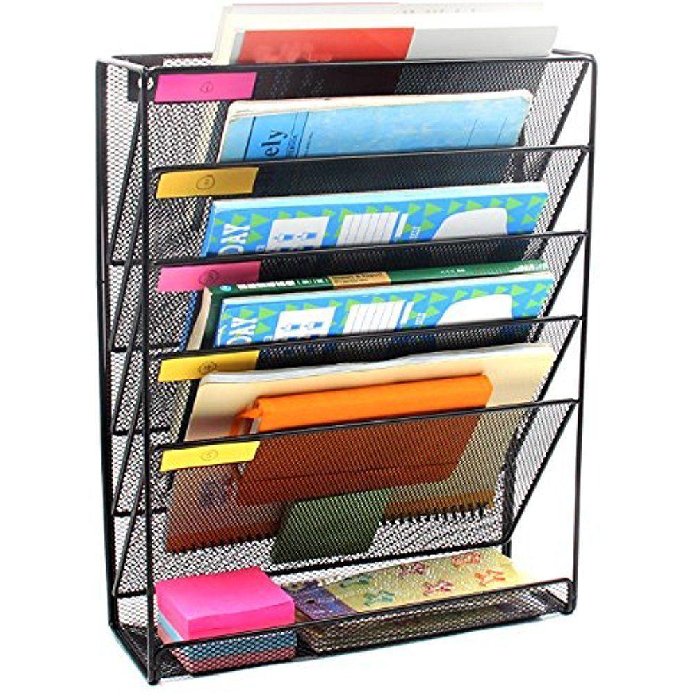 Wall Mounted File Folder Holder Organizer 5 Rack Storage Black