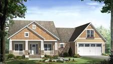 Country craftsman style house plan with porches