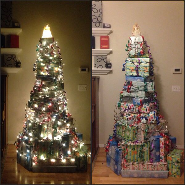 Christmas Tree made out of presents.
