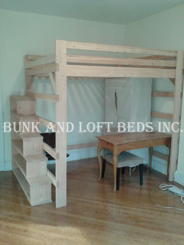 Queen Size Extra Tall Loft Bed With Custom Made Stair Case Shelf