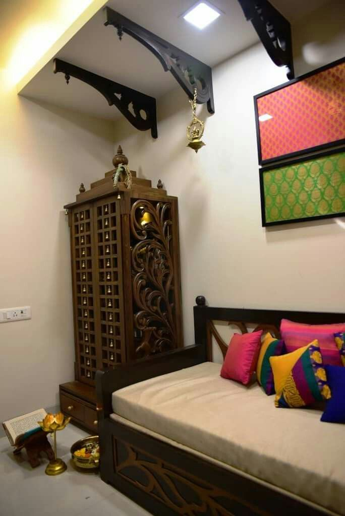 South Indian Temple With A Traditional Ceiling Traditional Bedroom Decor Indian Home Interior Pooja Room Design