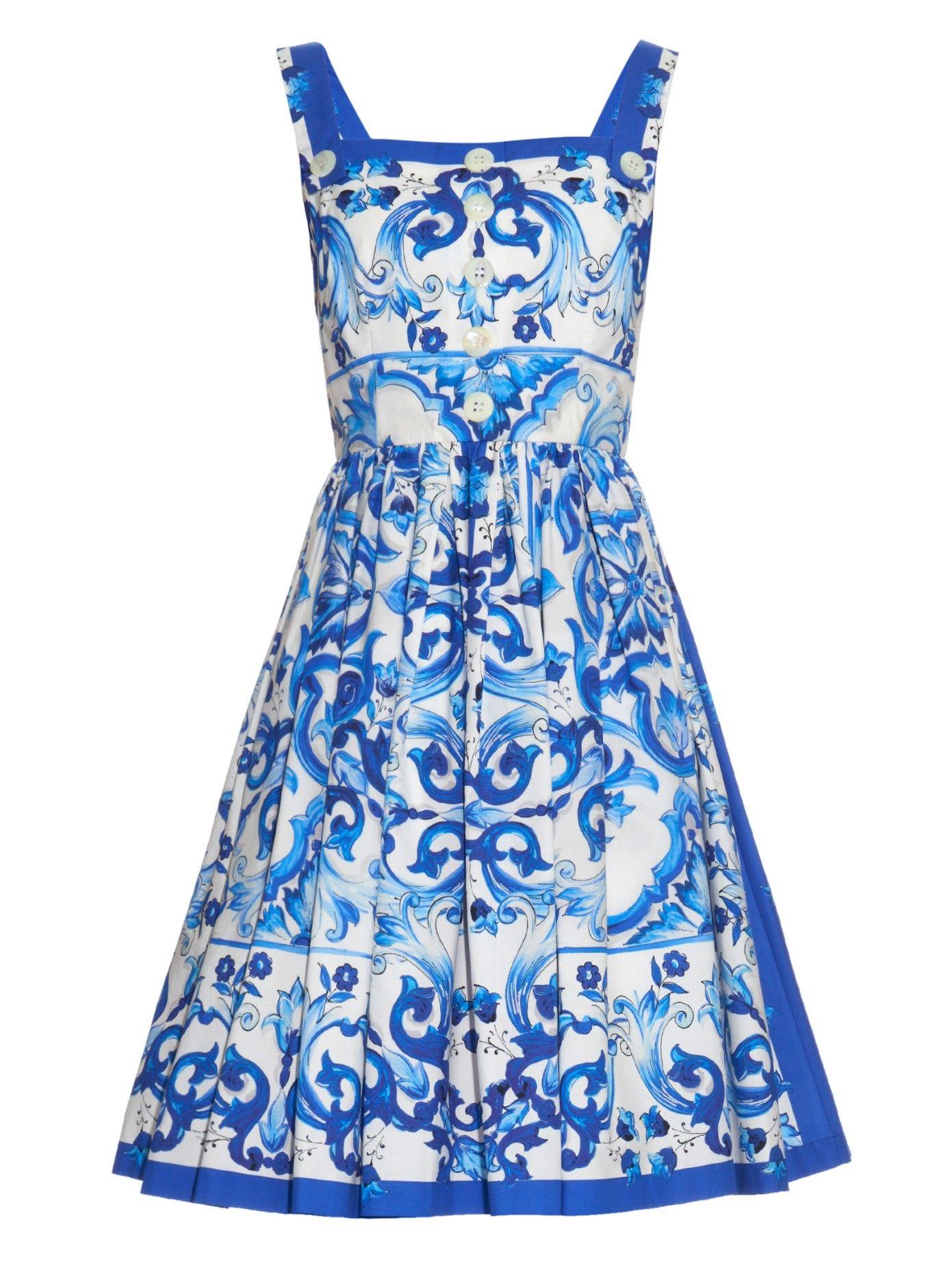Majolica-print cotton-poplin dress | Dolce & Gabbana | MATCHESFASHION.COM UK
