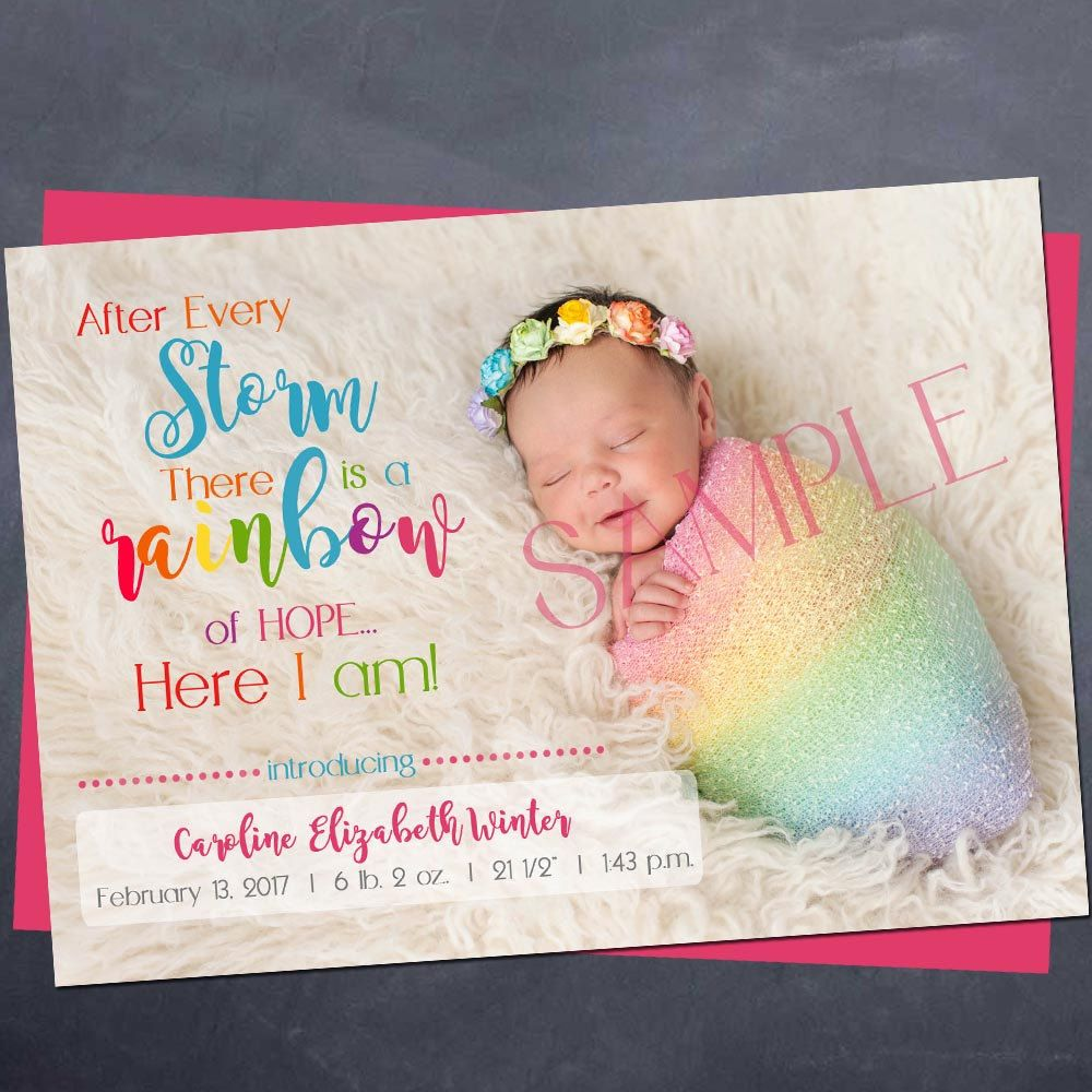 Printable rainbow baby birth Announcement 5x7 after every – Colorado Springs Birth Announcements