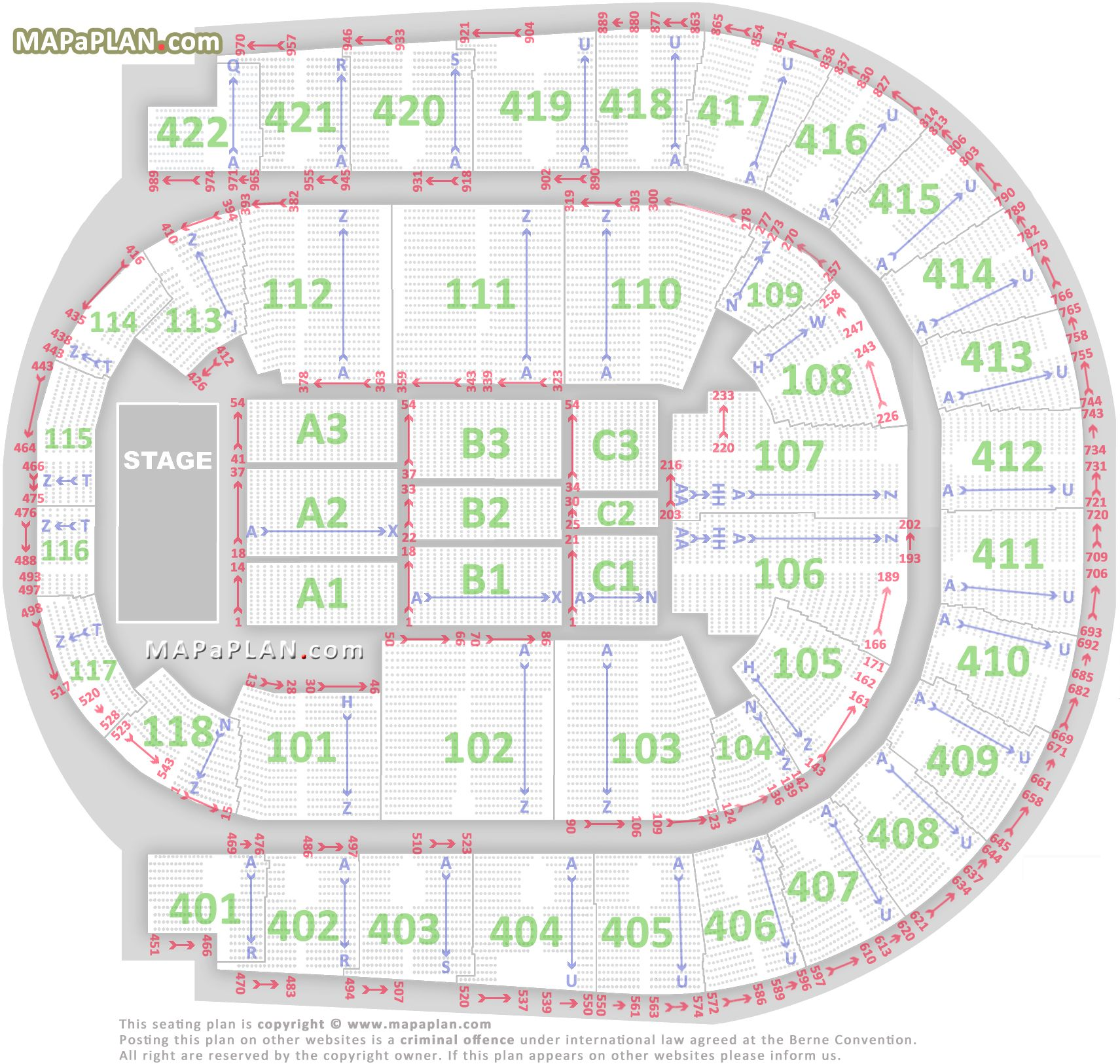 The O2 Arena London Seating Plan Detailed Seats Rows And